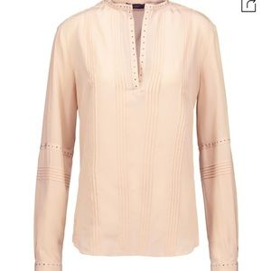 Belstaff Dana Studded Pin-tucked Silk Blouse
